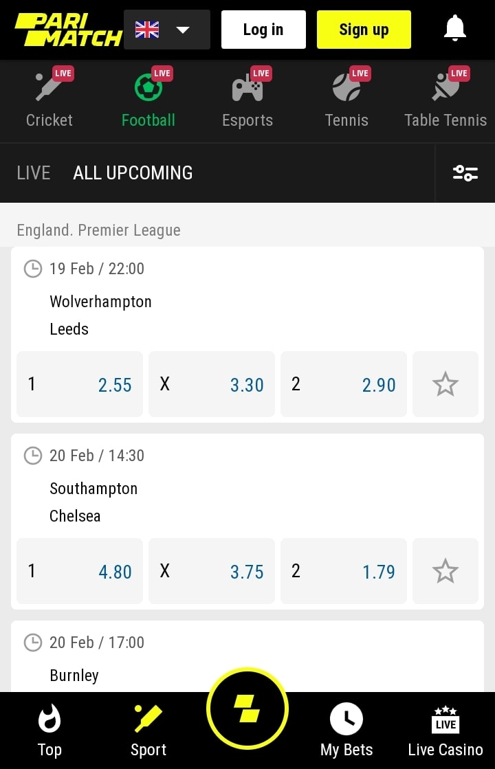 parimatch football live betting
